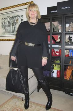 Leather pants over 40 look fabulous and edgy when paired with a longer top.   More info on how to wear leather over 40 visit http://40plusstyle.com/how-to-wear-leather-over-40/