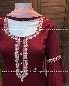 No photo description available. Kurti Sleeves Design, Sleeves Designs For Dresses, Kurta Neck Design, Neck Designs For Suits, Kurti Embroidery Design, Embroidery Fashion, Embroidery Dress, Embroidery Suits Punjabi, Punjabi Suits Designer Boutique