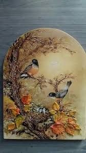 Lovely fall decor - confused by the baby birds though, as that should be spring. Sculpture Painting, Tole Painting, Painting On Wood, Plaster Art, Decoupage Art, Paperclay, Polymer Clay Art, Mural Art, Mixed Media Canvas