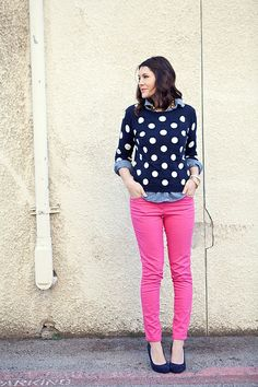 Brights and Dots.- I'd love some pink skinnies and the navy polka dots to wear with it!