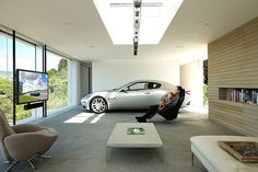Modern live-in #garage and #mancave. This is awesome!