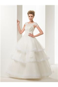 Appliques Natural Lace-up Sashes/Ribbons Summer Spring Ball Gown Beading Wedding Dress