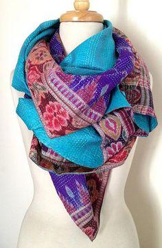 House of Wandering Silk   Kantha sari scarves