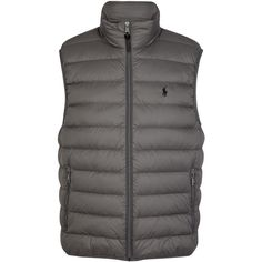 Polo Ralph Lauren Grey quilted shell gilet (£199) ❤ liked on Polyvore featuring men's fashion, men's clothing, men's outerwear, men's vests, mens grey vest, polo ralph lauren mens vest, mens quilted vest, mens gray vest and mens zip vest