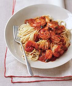 Pasta With Spicy Shrimp and Tomato Sauce recipe from realsimple.com