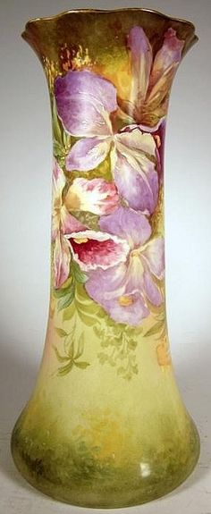 A Limogews painted porcelain vase, tapering form, with flared serpentine rim gilt to interior, the body painted to show floral blossoms on a naturalistic ground. Signed C. Teugram, France, circa 1850-1900