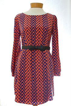 coral and blue zig zag dress and skinny black belt from parfait affair on facebook