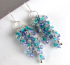 Periwinkle Blue Quartz, Teal Quartz and Sterling Bead Cluster Earrings Ear Jewelry, Jewelry Crafts, Beaded Jewelry, Jewelry Making, Jewellery, Funky Earrings, Bead Earrings, Artisan Jewelry, Handcrafted Jewelry