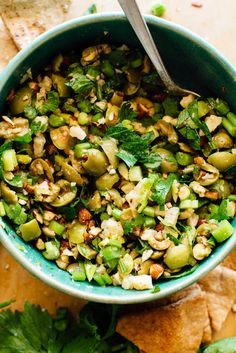 Torn Olives with Almonds, Celery & Parmesan - This fun and flavorful appetizer features briny green olives, crumbled Parmesan, crisp celery, and toasted almonds. Appetizers For Party, Appetizer Recipes, Mediterranean Appetizers, Celery Salad, Vegetarian Recipes, Healthy Recipes, Vitamix Recipes, Vegetarian Appetizers, Snacks Recipes