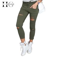 5bd5f96980ad6 New Arrival Sexy Pants For Women 2017 Autumn Skinny Pencil Pants Ladies  Stretchy Waist Casual Hole Trousers Capris Plus Size