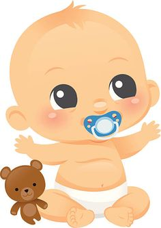 An adorable Baby boy with a teddy bear and a pinkie. Binky is on a separate layer and can be removed-the baby is smiling underneath. Teddy bear can also be removed and used separately. Cute Baby Boy, New Baby Boys, Cute Babies, Boy Cartoon Drawing, Baby Drawing, Baby Cartoon, Dibujos Baby Shower, Imprimibles Baby Shower, Illustration Mignonne