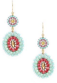 Miguel Ases Pink Multi Oval Drop Earrings on shopstyle.com