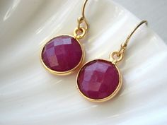 Bezel Set Ruby Earrings in Gold Vermeil