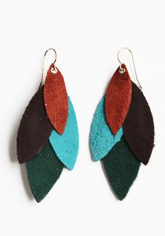 Leather feather earrings.