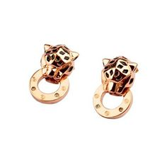 Cartier PANTHERE Earrings in Pink Gold with Black Onyx Cartier Earrings, Cartier Jewelry, Cat Jewelry, Stone Jewelry, Designer Jewelry, Jewelry Design, Cartier Panther, Tiger Love, Art Of Beauty