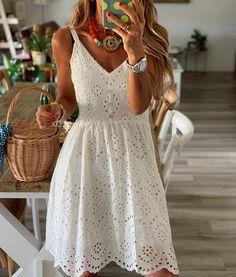 Dress Outfits, Casual Dresses, Pretty Summer Dresses, White Boho Dress, Frack, Summer Fashion Outfits, One Piece Dress, White Fashion, Evening Dresses