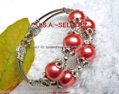 Beautiful Tibet Silver bracelet coral color imitation pearl beaded double row bangle for Charity.  Today brgins 10 Days of my $9.99 Super Sale!