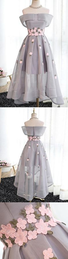 Prom Dresses 2017, Short Prom Dresses, 2017 Prom Dresses, Prom Dresses Short, Grey Prom Dresses, Prom Short Dresses, Tulle Prom Dresses, Homecoming Dresses 2017, Short Homecoming Dresses, Grey Party Dresses, 2017 Homecoming Dress Tulle Off-the-shoulder Short Prom Dress Party Dress