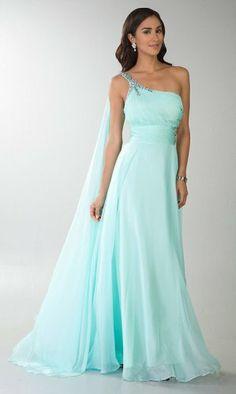 2014 Aqua One Shoulder Sequins Slit Long Prom Dress