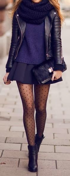 Warm and Beautiful ❤ Scarf + Sweater + Leather Jacket + skirt + heart stockings + boots