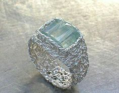 Aquamarine Fine Silver Wire Crochet Ring  Via Eco First Art (no longer available) -Pamela  #crochet #inspiration #jewelry