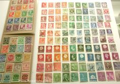 Sorting sorting sorting... First step to creating a re-collected #stamp #notebook is poring over my #collection of old #stampalbums. Second step (pictured) is to make #rainbows of the #stamps from each of the different countries. (Final step: glue to notebook!) #vintagestamps #oldstamps #philately #stampcollection #upcycled #stampart #stampcraft #craftswithstamps #rainbowart #recycledcraft #recycled #recycledvintage #vintagetravel #postalcraft