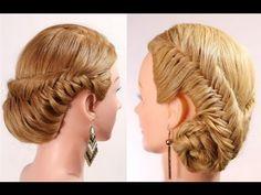 """Прическа с плетением """"рыбий хвост"""" на длинные волосы. Fishtail braid hairstyle tutorial - YouTube"""