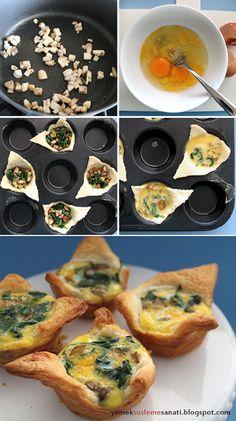 Yemek Süsleme Sanatı: Mantarlı- Ispanaklı Üçgen Milföy Çanakları