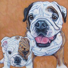 "Tank the English Bulldog Dog as a puppy and an adult Custom Pet Portrait Painting in Acrylic Paint on 12"" x 12"" Canvas from Pet Portraits by Bethany."