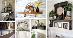 18 Unique and Stylish Mantel Shelf Ideas without a Fireplace - Decor 2019 Wood Mantel Shelf, Wood Fireplace Mantel, Wood Mantels, Living Room With Fireplace, Fireplace Design, Fireplace Ideas, Rustic Wall Decor, Country Decor, Entryway Decor