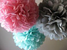 Tissue Paper Pom Poms - Set of 10 - Your Color Choice- SALE - Bubble Gum Decorations. $30.00, via Etsy.