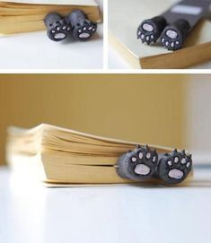 Bear Paws bookmark - I want! Clay Crafts, Diy And Crafts, Cute Bookmarks, Corner Bookmarks, Book Markers, Ideias Diy, Bear Paws, Kitty Paws, Cold Porcelain