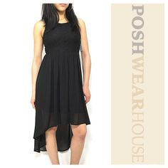 """Black High Low Sheer Skirted Dress Also in Small Rear inseam zipper • Stretch at bust & waist • Fully lined • Great movement & flow when walking • Length in front 35"""", back 52"""" • Bust 38""""-42"""" • Waist 30""""-34"""" • Hips up to 46"""" • Polyester  Like what you see? Follow me!  On PM  @PoshWearHouse On IG @PoshWearHouse On FB www.facebook.com/PoshWearhouse Dresses Midi"""