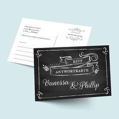 Vintage Antwortkarten zur Hochzeit - selbst gestalten designen