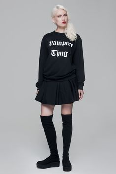 Vampire Thug Sweatshirt BLACKBLESSED  @Black Blessed #black #white #fashion #minimal #basic #elegant #designer #urban #urbanchic #dresses #pants #tshirt #top #leggings #white #simple #simplicity