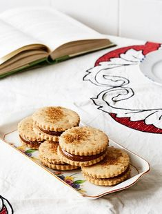 Beatrix Bakes · Almond Jaws Toasted Almond Cookies filled with Dulce de Leche