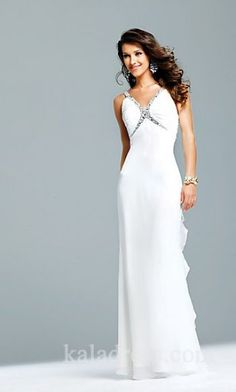 Elegant Sleeveless Sheath White Natural Evening Dresses In Stock kaladress10007