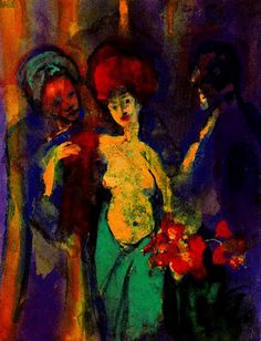 'In the Locker Room' - Emil Nolde (7 August 1867 – 13 April 1956) was a German painter and printmaker. He was one of the first Expressionists, a member of Die Brücke, and is considered to be one of the great oil painting and watercolour painters of the 20th century. He is known for his vigorous brushwork and expressive choice of colors