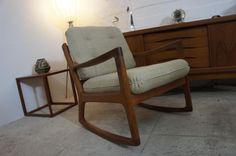 Teak Rocking Chair Schaukelstuhl v. Ole Wanscher France & Son / Cado 50er Jahre in Antiquitäten & Kunst, Design & Stil, 1950-1959 | eBay