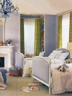 1920's Beverly Hills home by Interior Designer Thomas Beeton. Love the beds upholstered in blue gingham.