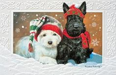 CHRISTMAS CARDS ~ TERRIER TIME ~ Pumpernickel Press ~ Made In The USA (NEW)