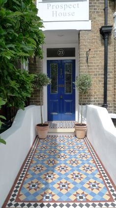 victorian mosaic garden tile path yorkstone steps black heath greenwich london# … - All About Balcony Victorian Front Garden, Victorian Front Doors, Victorian Tiles, Victorian Terrace, Victorian Flooring, Hall Tiles, Tiled Hallway, Porch Tile, Front Path