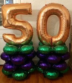 50th Birthday balloon decor. Big & festive! Can customize colors & numbers for any birthday/anniversary.