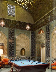 Fantastic play room in oriental style, great color combination, cool armchairs