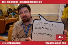 """""""Use other Millennials!"""" Charlie Tierney @CharlieTierney shares his secret to successfully recruiting Millennials.    T2: Talent Tomorrow  SHRM 2012 Talent Management Conference & Exposition in Washington D.C.    For more recruiting tips, visit the Dice Resource Center:  resources.dice.com"""