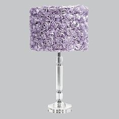 Jubilee Collection 874001-4712 Crystal Slender Lamp with Lavender Rose Garden Drum Shade. #purplelamps #purpledecor #funkthishouse #lavender #purple