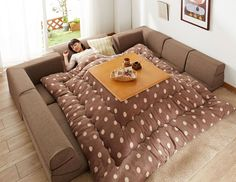 YES. - japanese heated table couch bed blanket fort