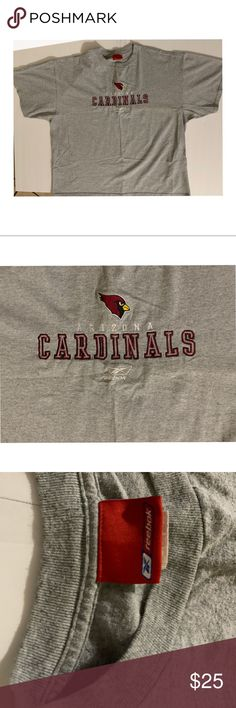 Arizona Cardinals Logo Graphic Gray Reebok NFL Tee Pre- Owned Arizona Cardinals Reebok Tee. It has a very clean and sharp embroidery on the center chest. Tee in Great condition!  Size: XL Width: 26 inches Length: 28 inches Reebok Shirts Tees - Short Sleeve