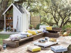 terrasse et meubles de terrase en palette-recup-diy-terrasse astucieuse-rangement