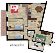 Progetto per un appartamento da ristrutturare in vendita a Pescara
